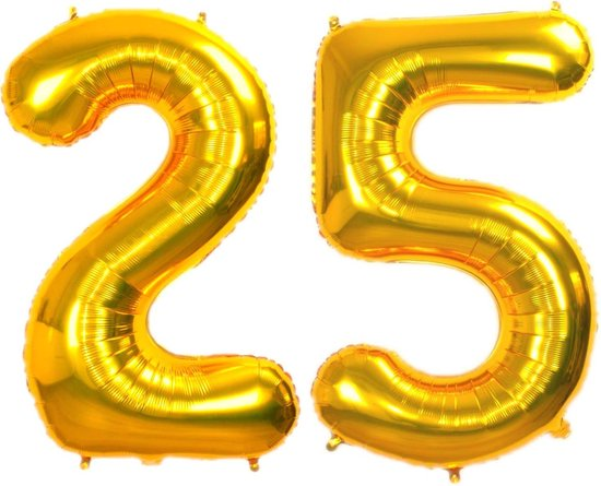 Folie Ballon Cijfer 25 Jaar Goud 70Cm Verjaardag Folieballon Met Rietje