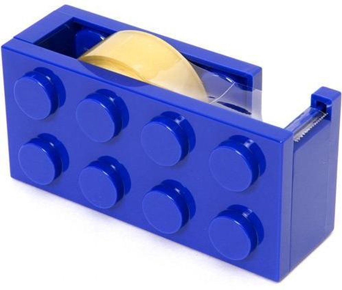 Lego blok plakband dispenser BLAUW bekend van lego - set - blokjes - bouwen - figuur - kinderkamer + plakband rol - technic - city - friends - star wars - creator - ninjago - classic - harry potter lego blokje