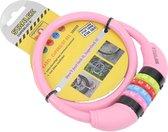 Stahlex Ø10mm / 65cm kabelslot schlechts 230g met cijferslot | Het eerste fietsslot voor uw kind | Roze