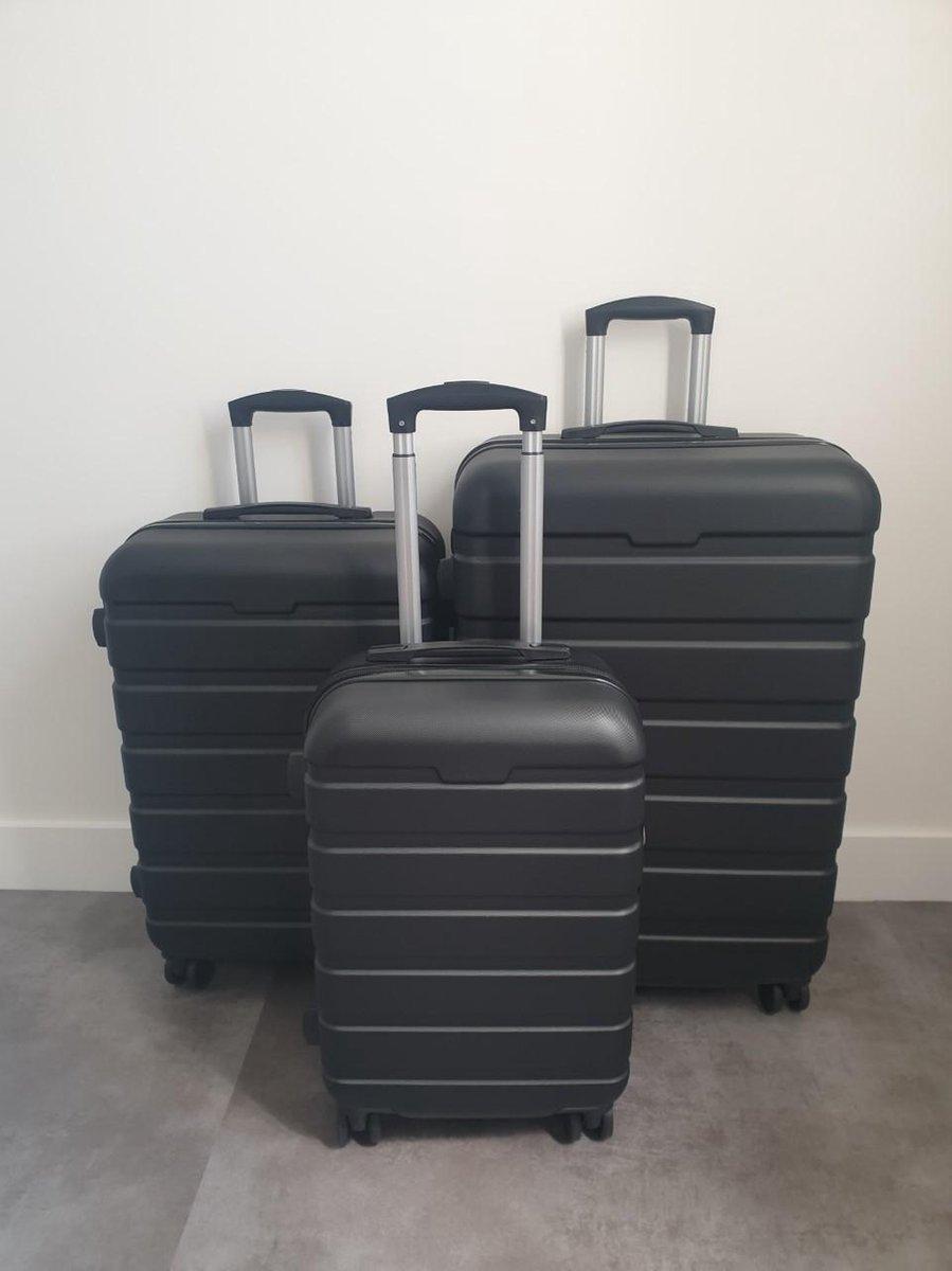 3-Delige harde kofferset ABS - Zwart