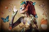 Glasschilderij 'Vrouw met Vlinders' 80x120