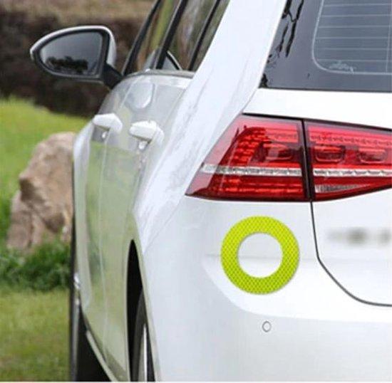 Auto Reflecterende Sticker , Waarschuwing Tape, Reflecterende Strips, Veiligheid Mark, rond - citroengeel set van 2