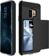 Luxe Cardslot voor Samsung Galaxy S9 | Zwart | Shockproof |TPU Siliconen - Hard PC | Kaarthouder