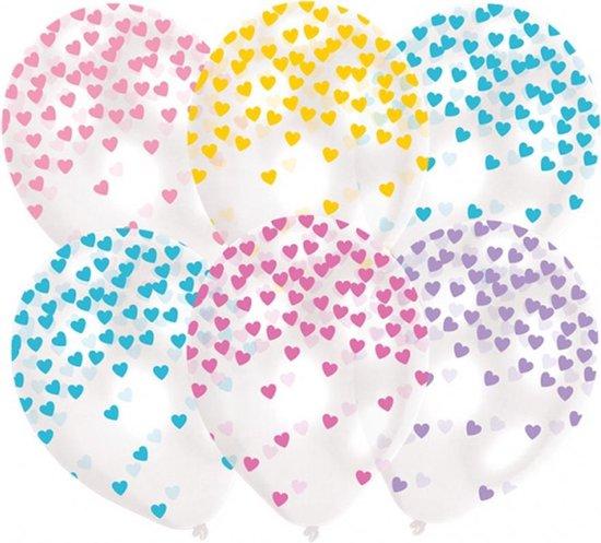 6 Balloons Latex Heart Confetti - Pastel assorted 27 5 cm/11