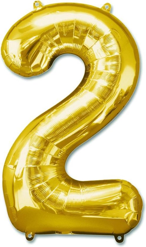 Folieballon - Cijfer 2 - Goud 100 cm