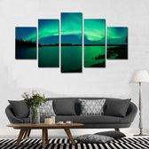 5-luik - Canvas Schilderij * Sfeervol Noorderlicht * - Kunst aan je Muur - Blauw Groen - 5-delig - 80 x 150 cm