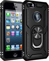 Apple iPhone 5, 5s & SE Hoesje - Anti-Shock Hybrid Armor met Kickstand Ring - Zwart