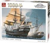 King Puzzel 1000 Stukjes (68 x 49 cm) - Taking Lady Grace - Legpuzzel Geschiedenis Zeilschepen - Volwassenen