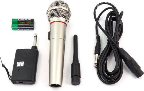 Draadloze Microfoon met FM Ontvanger / 10 Meter Bereik / Microfoonset Draadloos / Zilver