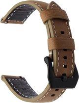 KELERINO. bandje - Samsung Galaxy Watch (46mm)/Gear S3 - Lichtbruin/Zwart