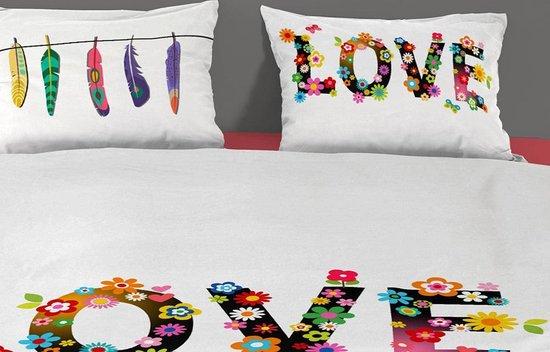 Lits jumeaux hippie dekbedovertrek met veren en bloemen, wit – 4960-P (240×200/220 cm + 2 slopen)