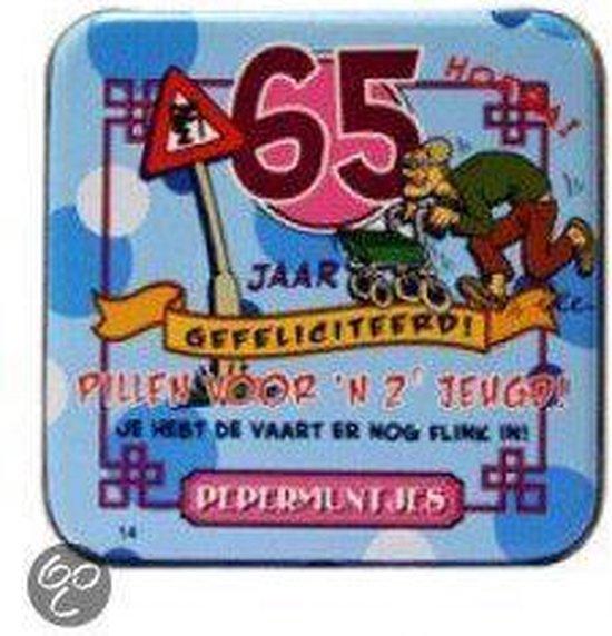 Pepermunt Blikje - 65 jaar man (incl. 70 gram pepermunt)