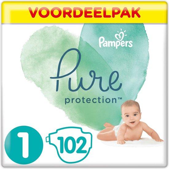 Pampers Pure Protection Luiers - Maat 1 (2-5 kg) - 102 Stuks - Maandbox