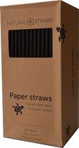Natural Straws papieren rietjes - Zwart - 250 stuks - 19,7 cm - 100% Composteerbaar