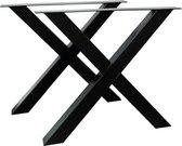 Zwarte Stalen X metalen tafelpoten 8 x 8 cm per stuk