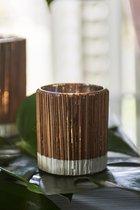 Riviera Maison Spa Special Bamboo Votive - Waxinelichtjeshouder - S - Glas/Hout