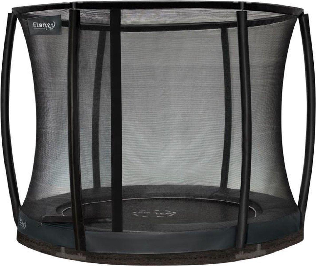 Etan Premium Gold Combi Deluxe Inground Trampoline Set - Ø 244 cm - incl. Deluxe Veiligheidsnet - UV-bestendig Randkussen - Grijs - Rond