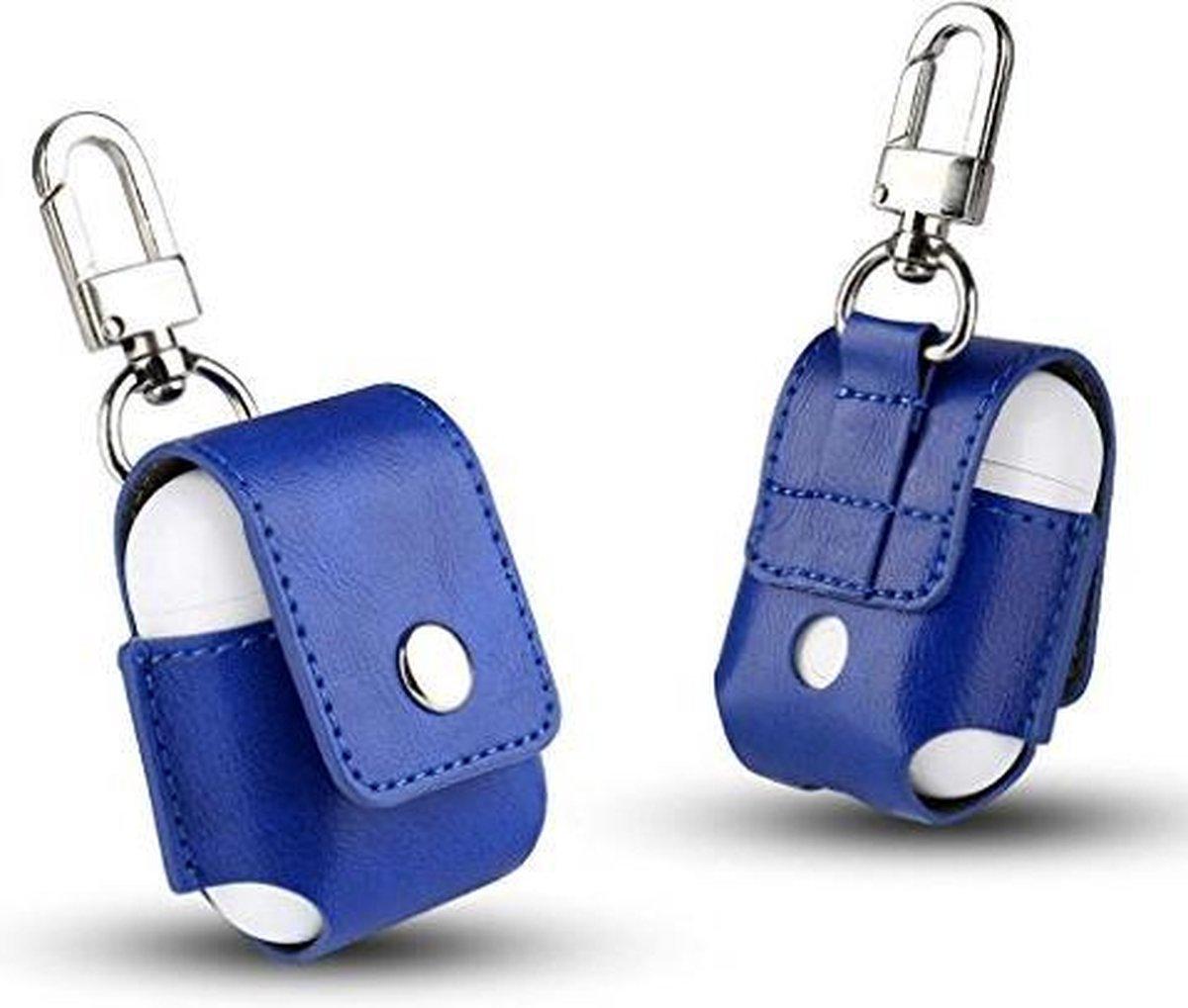 KELERINO. Hoesje voor Apple Airpods Lederen - Blauw - KELERINO.