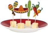 12x Mexicaanse cocktail prikkers fiesta 9 cm - cocktailprikkers / prikkertjes