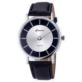 Fako Bijoux® - Horloge - Geneva - Metal - Zwart