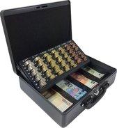 ACROPAQ AGE300G - Metalen Geldkist 300x245x90mm - 2 handvaten - Muntsorteerder - Cilinderslot met 2 sleutels - Grijs