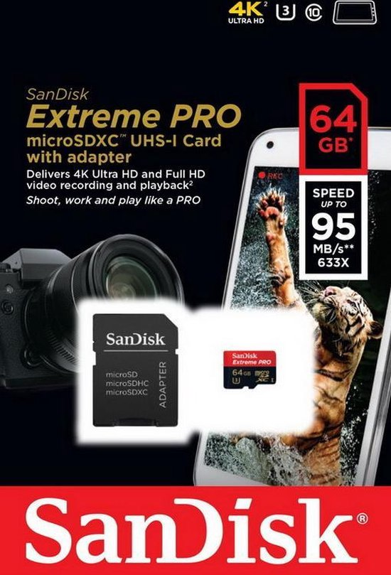 Sandisk Extreme PRO Micro SD kaart 64 GB + Adapter