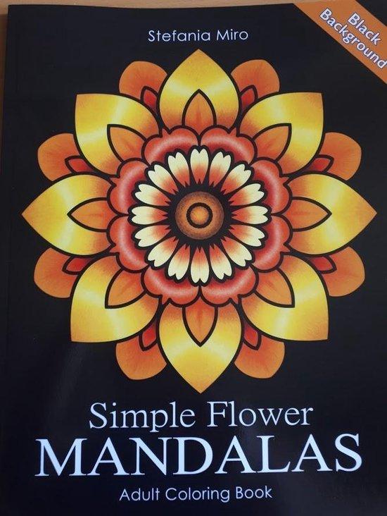 Afbeelding van Simple Flower Mandalas Black Background Adult Coloring Book