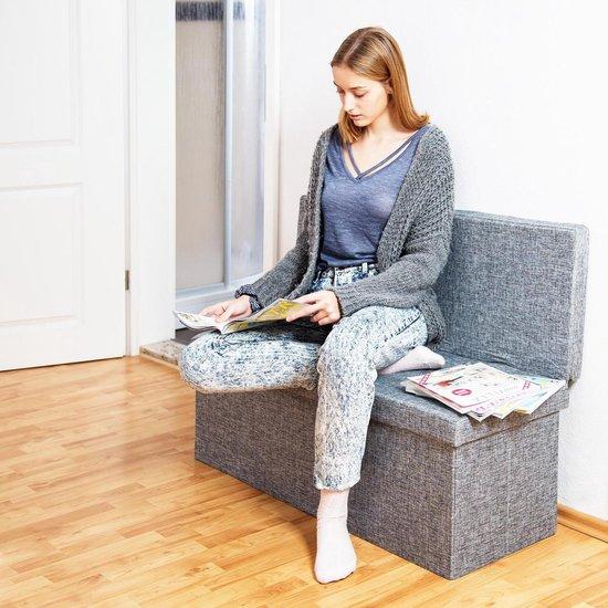 relaxdays poef met rugleuning, zitbankje, opvouwbaar, opbergbank, halbank linnen grijs - Relaxdays