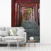 Torii-poorten en stenen trappen bij het Japanse Koyasan fotobehang vinyl 180x270 cm - Foto print op behang