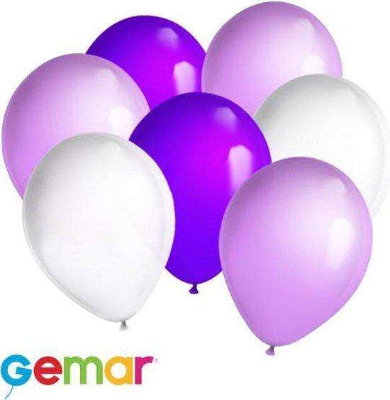 30x ballonnen Paars, Lavendel en Wit (Ook geschikt voor Helium)