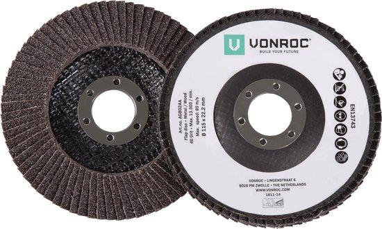VONROC Universele lamellenschijven set – 2-delig – K40 & K60 – Ø115 x 22.2MM