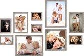 Deknudt Frames Fotowand grijsbeige houtkleur, 10 kaders S45RH7 met handige meetlat voor plaatsing. 2x 10x15cm, 2x 13x18cm, 1x 15x20cm, 2x 20x30cm, 1x 30x30cm, 2x 30x40cm fotomaat 0x0 cm