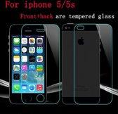 Explosion Proof Tempered Glass Film Screen Protector (Voor + achterzijde) voor Apple iPhone 5 5S SE