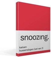 Snoozing - Katoen - Kussenslopen - Set van 2 - 50x70 cm - Rood