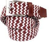 Elastische Riem met patroon - Gevlochten Riem -  Rood witte riem - 90 cm