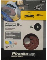 BLACK+DECKER Piranha schuurschijf K40 115x22 mm 5 stuks X32155-XJ voor haakse slijper