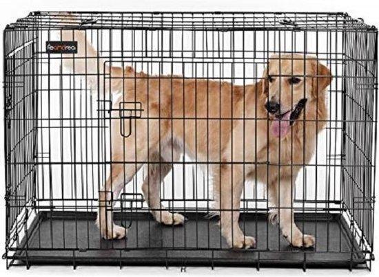 Songmics Grote Opvouwbare Hondenbench - Bench Voor Hond - 2 Deurs Kennel - Autobench