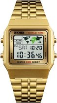 Skmei EL Digitaal Roestvrijstalen - Retro RVS Watch - Worldtime - Sporthorloge  - Alarm - Stopwatch - 30m 5ATM Waterdicht - Goud