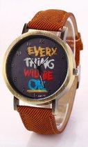 Hidzo Horloge Every Thing Will Be Ok ø 37 mm - Bruin - In horlogedoosje