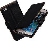 MP Case PU lederen Portemonnee hoesje voor de Apple iPhone 6/6S Wallet Case - Telefoonhoesje - Bescherm Hoes - Book Style - Book Cases - klap Flip Cover - Smartphone hoesje - kleur zwart