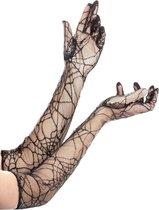Lange spinnenwebhandschoenen voor volwassenen Halloween - Verkleedattribuut