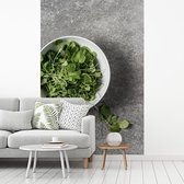 Fotobehang vinyl - Een kom tuinkers tegen een grijze achtergrond breedte 335 cm x hoogte 500 cm - Foto print op behang (in 7 formaten beschikbaar)