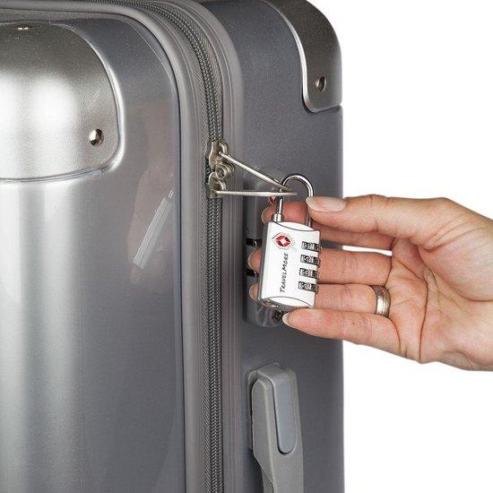 TravelMore TSA Kofferslot 4 Cijferig - 1 stuk - Reisslot – Reis Cijferslot – Cijferhangslot - Hangslot - Hangslotje - Bagageslotjes – Slot voor Bagage – USA Slotjes – Zilver - TravelMore