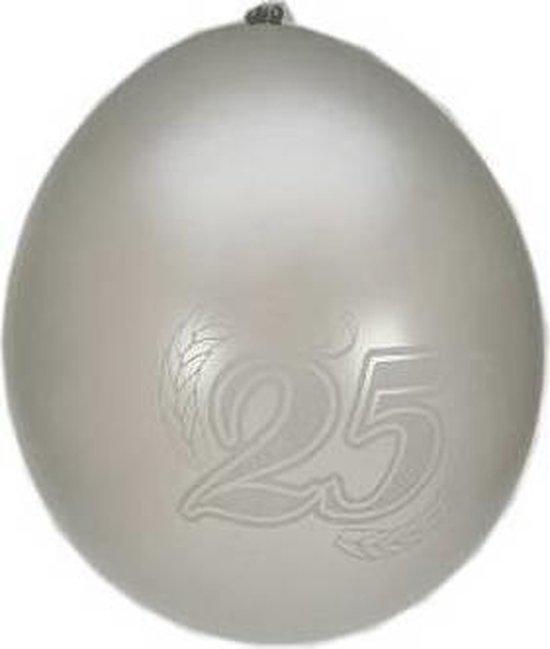 Ballonnen 25 jaar metalic zilver per 8