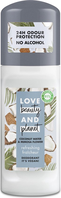 Love Beauty And Planet Refreshing Deodorant Roller Coconut Water & Mimosa Flower - 2 x 50 ml