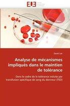Analyse de M�canismes Impliqu�s Dans Le Maintien de Tol�rance