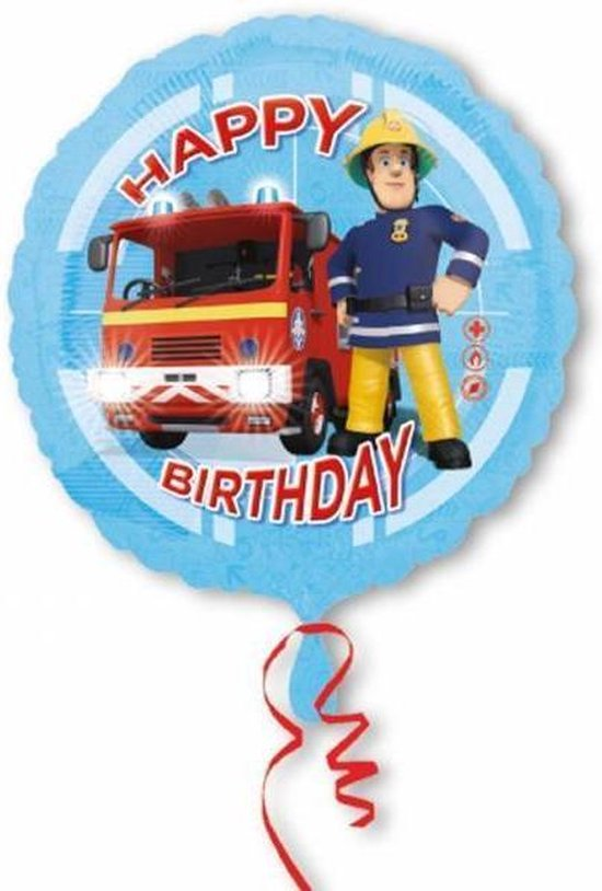 Fireman Sam Helium Ballon Happy Birthday 43cm leeg