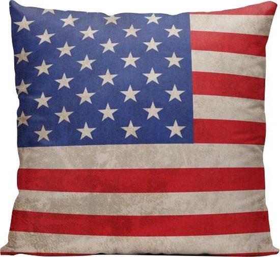 Amerikaanse Vlag (USA) - Sierkussen - 40 x 40 cm - Amerika/Verenigde Staten - Reizen / Vakantie - Reisliefhebbers - Voor op de bank/bed