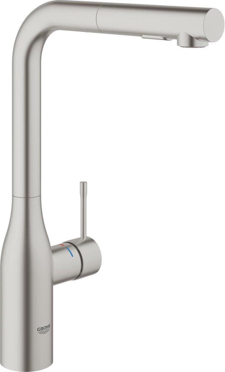 GROHE Essence New Keukenkraan - Hoge uitloop - Met uittrekbare handdouche - SuperSteel (mat chroom)