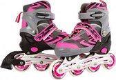 Inline skates roze/grijs verstelbaar - Skeelers maat 35-38